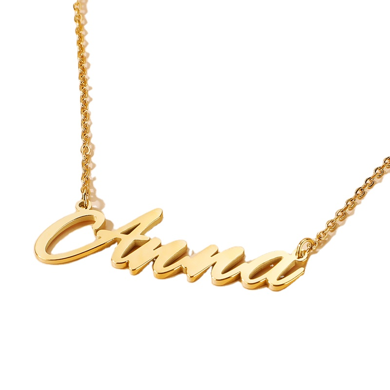 New Stainless Steel Tennis Name Gold Plate English Letter Necklace For Women Joyas Jewelry Wholesale