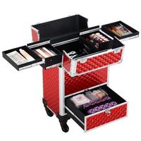 Professional Makeup Artist Travel Case lock Cosmetic Rolling Box With 4 Wheels Sliding Drawer