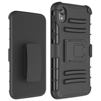 PC TPU Mobile Cover For Moto E6, Kickstand Cases For Motorola E6 T-mobile Belt Clip Shockproof Case