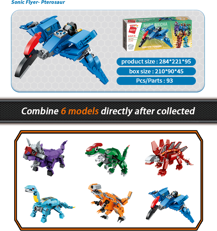 Qman OEM/ODM 553pcs Assembly 6 in 1 dinosaur toys set change robot Bricks customized building blocks educational toys