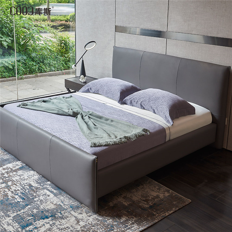 foshan bed modern pu leather bed hotel double beds 1902
