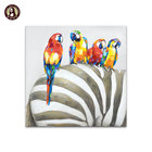 Handmade Cheap Wall Hangings Art Abstract Zebra And Bird Canvas Oil Painting