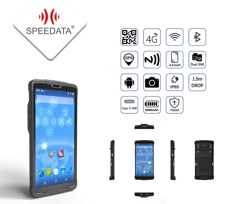 Alibaba Verified Manufacturer SPEEDATA SD60 Robust IP65 Hand held PDA Barcode scanner Android with 4G LTE/Phone features/GPS