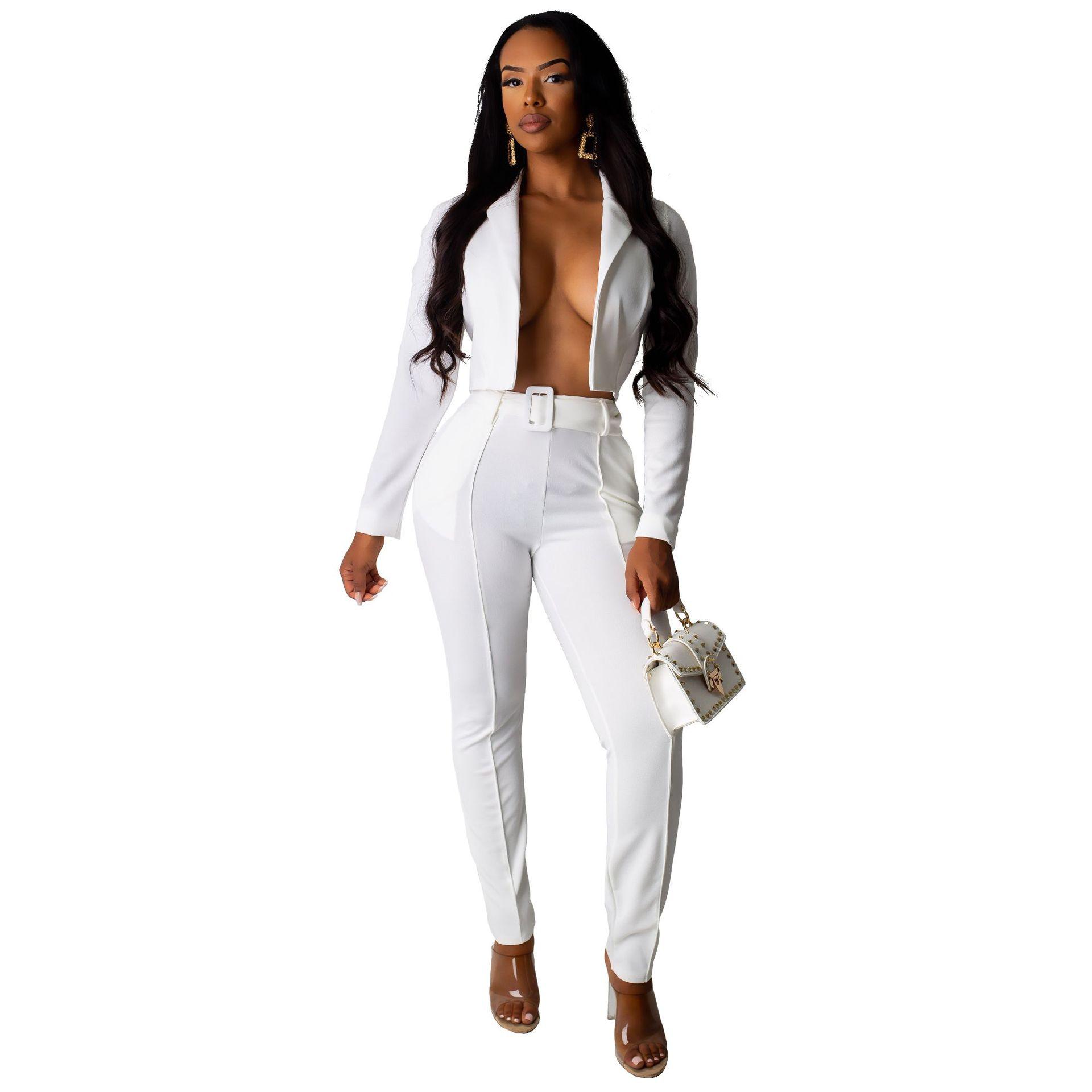 Echoine сексуальный женский Блейзер комплект с v-образным вырезом сексуальный шикарный костюм женский офисный комплект из 2 предметов наряды ж...(Китай)