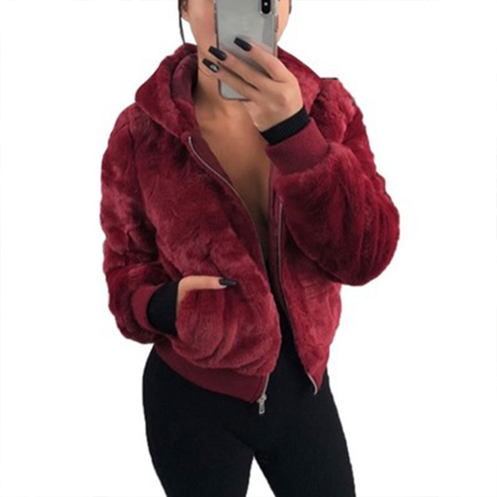 겨울 플러스 사이즈 여성 의류 도매 가짜 모피 짧은 탑 자켓 후드 벨벳 숙녀 코트