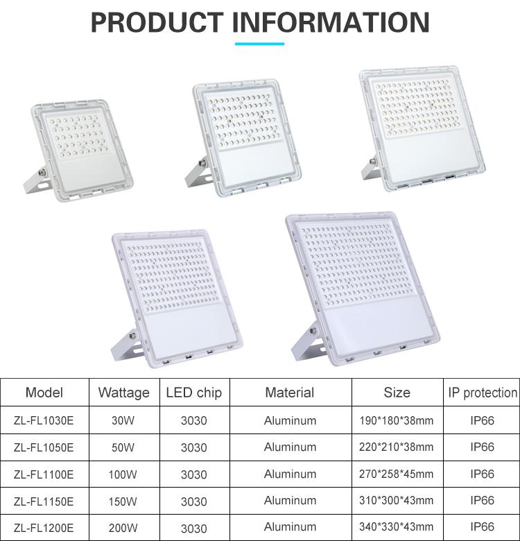China factory wholesale IP65 waterproof outdoor 30watt 50watt 100watt 150watt 200watt LED Flood lamp