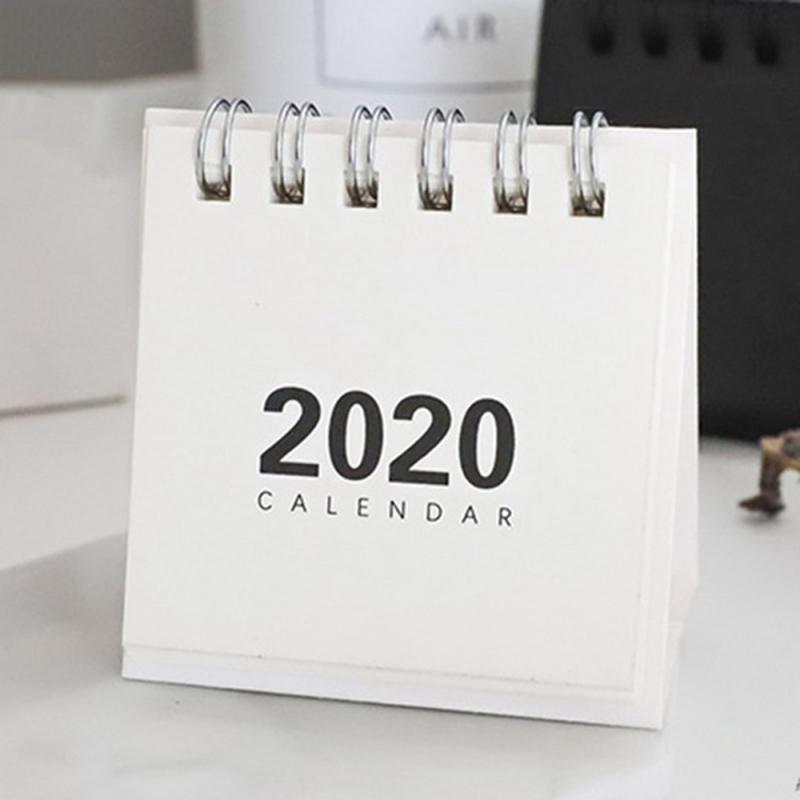 Мини 2020 бумажный Планировщик Календарь чистый цвет ретро крафт-Бумага Креативный простой стол катушка блокнот тетрадь Годовая программа к...(Китай)
