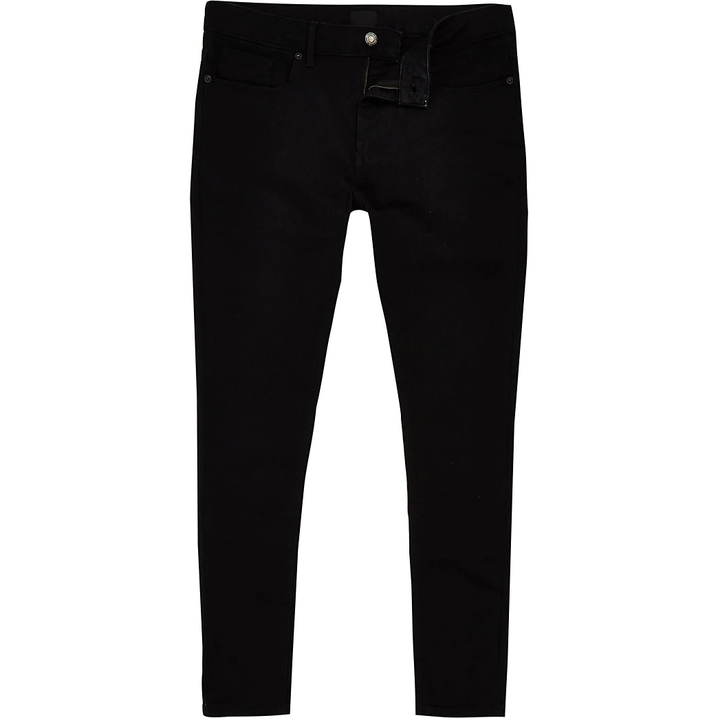 Latest Design Black Stretch Denim Spray Mid Rise Jeans Pants For Men