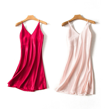 New Summer Ladies Sexy Sleeveless Nightgowns Solid Color Deep V-neck Chemise Pajamas Dress Soft Sleepwear Satin Silk Nightdress