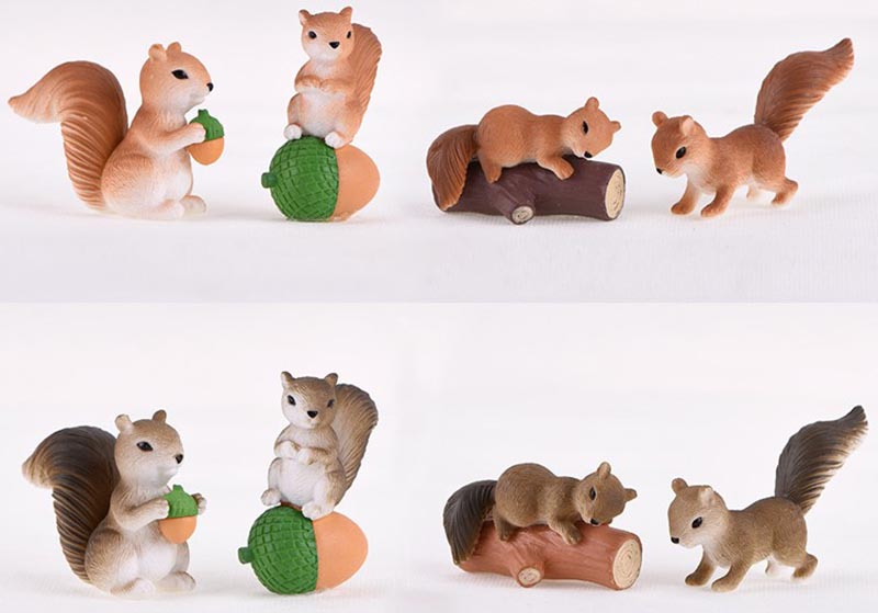 Amazon Hot Sale natural animal figurines Resin Squirrel assorted decor