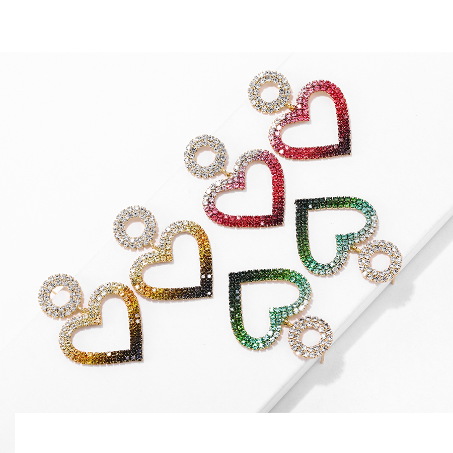 1142 xuping free shipping14k gold plated Christmas gifts Heart-shaped earrings in luxurious gradient colors jewellery