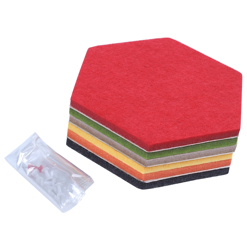 6 Pack Felt Hexagon Pin Board Self Adhesive Bulletin Memo Photo Cork Boards Colorful Foam Wall Decorative Tiles