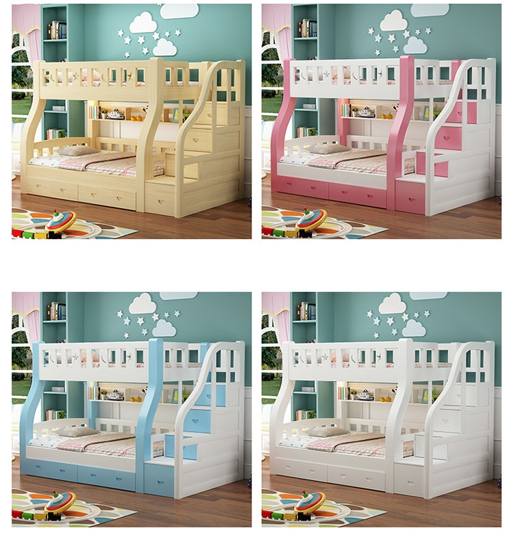 Amazon Colorful Latest Smart Modern Design Solid Wood Bed Furniture Children Double Bunk Beds with Storage Drawer or Ladder
