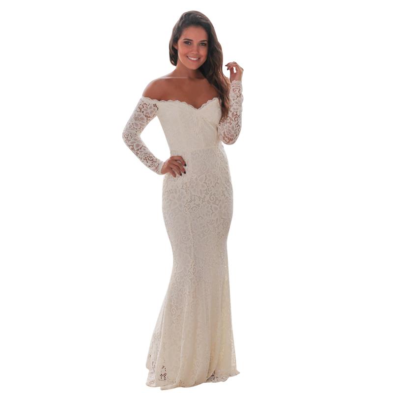A93卸売ホワイトオフショルダーマキシイブニングブライドメイドウェディングドレス