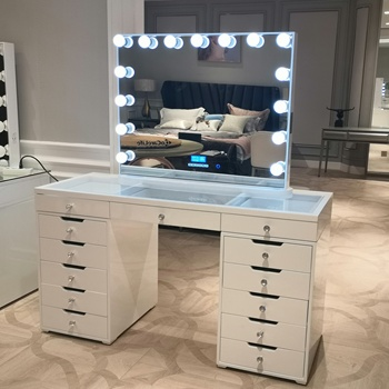 Stock on USA! Docarelife Home Furniture Modern Style 13 Drawer Dressing Table Dresser Bedroom Set with Mirror