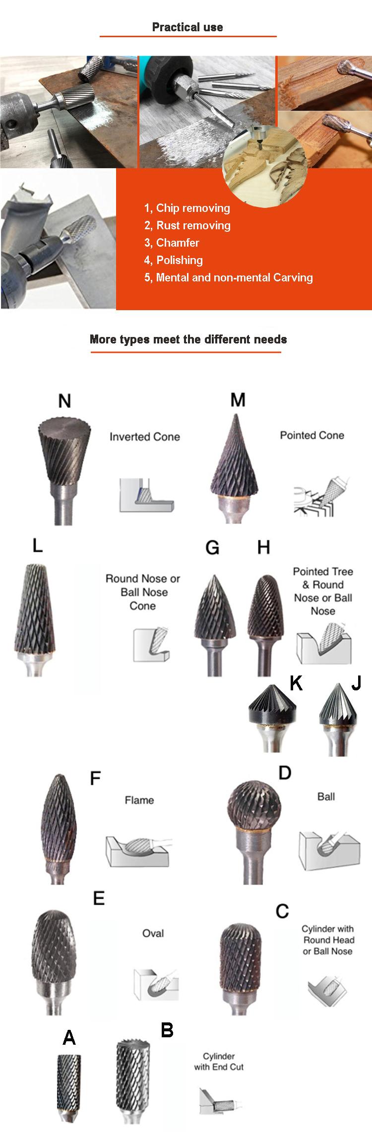 저렴한 가격 베스트 셀러 다른 모양 절단 도구 텅스텐 카바이드 로터리 burrs
