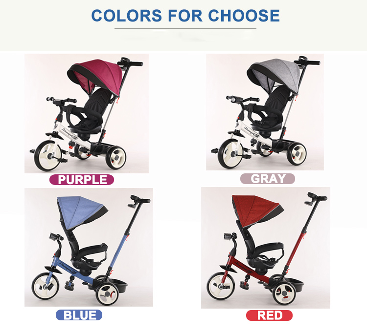 Hot sale 4-In-1 baby tricycle/CE children tricycle with foldable and rotating seat/kid toys best tricycle for baby