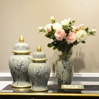 Custom size wholesale Chinese antique hand painted flower porcelain decoration chinoiserie ceramic vase for home decor