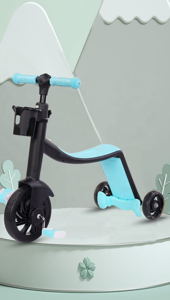 2020 personalizado fábrica crianças equilíbrio bicicleta, crianças scooter triciclo 3 en 1 pu rodas