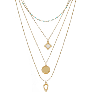 Simple Design Women 14k Gold Plated Double Layered Necklace Jwellery