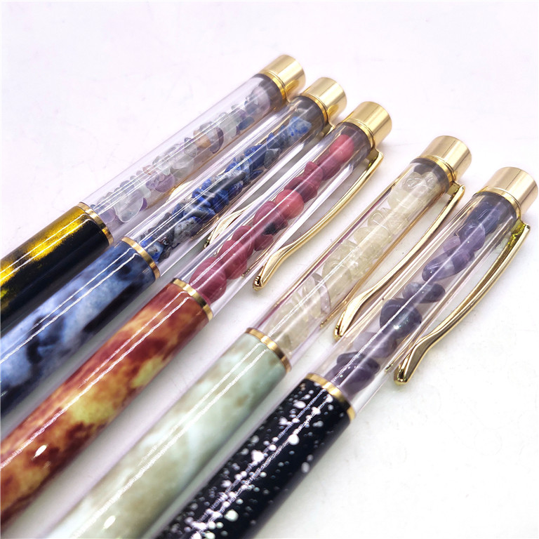 Natural Crystal Gravel Personality Beautiful Metal Black Ballpoint Pen As Gift