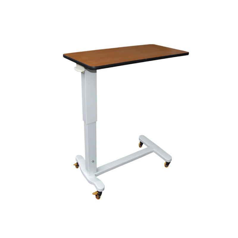 Hospital height adjustable over-bed tray table with wheels patient over bed table moveable