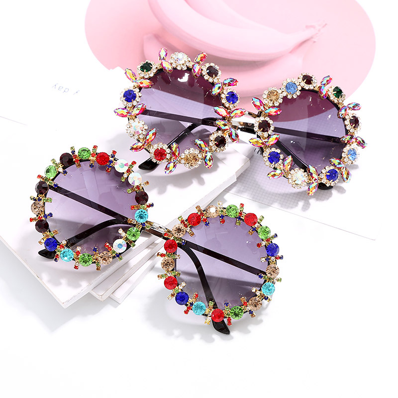 Hot Selling 2019 Baroque Rhinestone Colorful Round Women Sunglasses