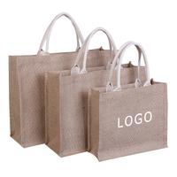 Eco friendly laminated jute bag burlap reusable linen beach bag hessian shopping tote bags with custom logo