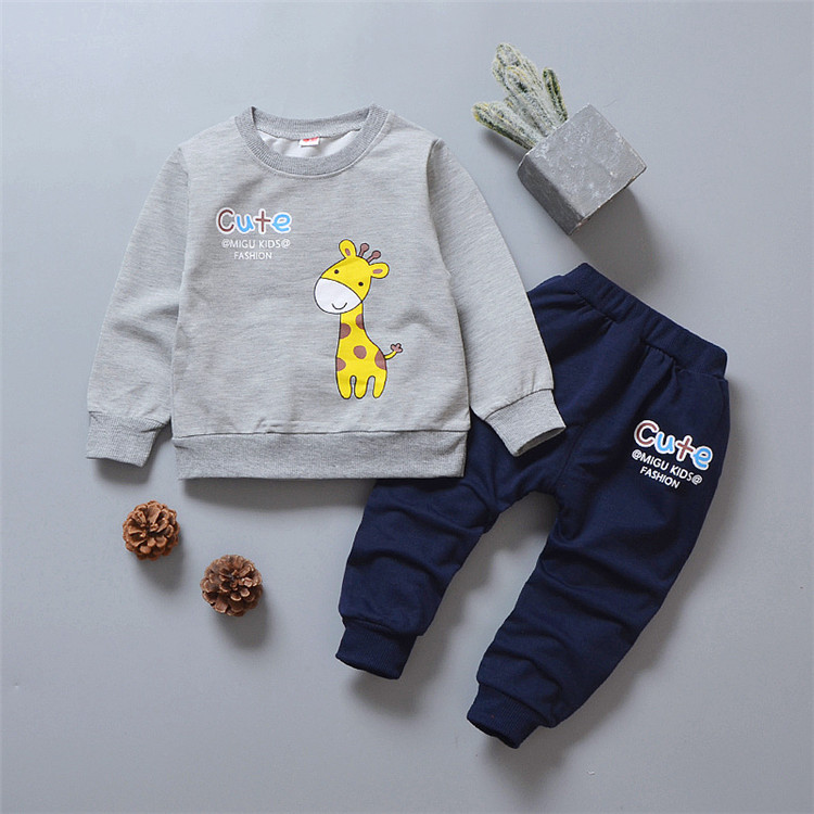 Cute Outfits for Boys Girls Spring Autumn Toddler Clothing Sets Long Sleeve T shirt + Trouser Two Piece Kids Clothing