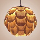 Natural Color Wood material Hanging Lights Plastic Shade E27 pendant lamp modern