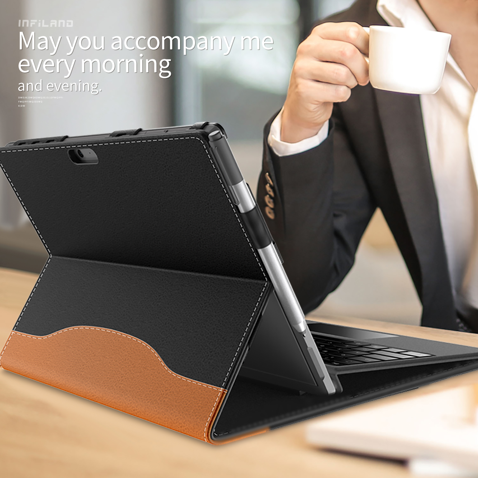 Infiland Case, Multi-Angle Business Cover Built in Pocket for Surface Pro 4/Surface Pro 6/Surface Pro 7 2019 New release