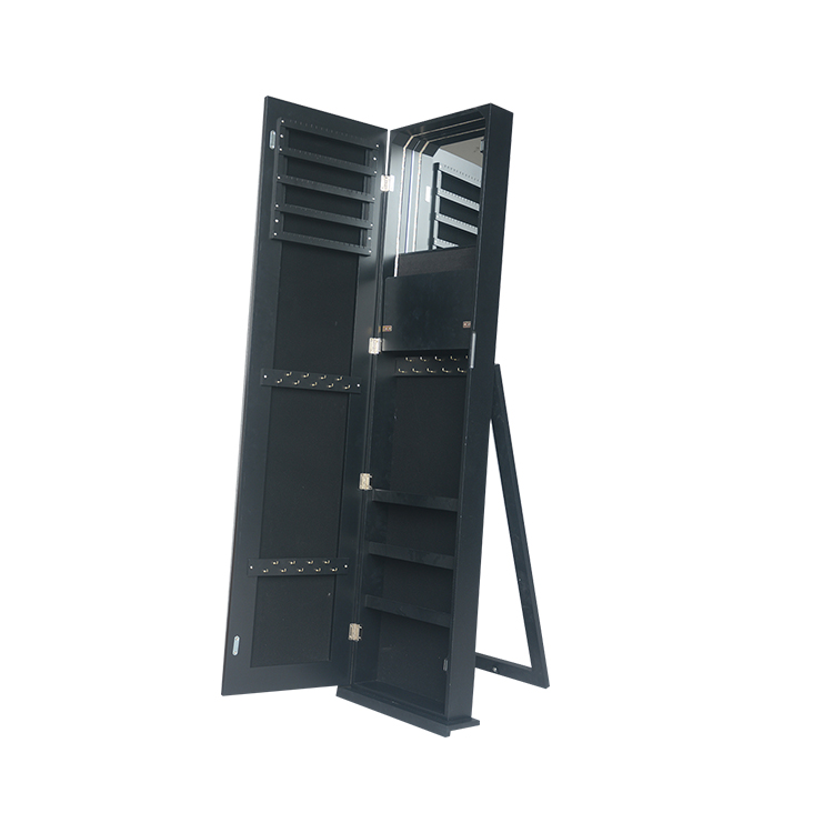 Best selling modern high quality black Floor Mirrored Jewelry Cabinet