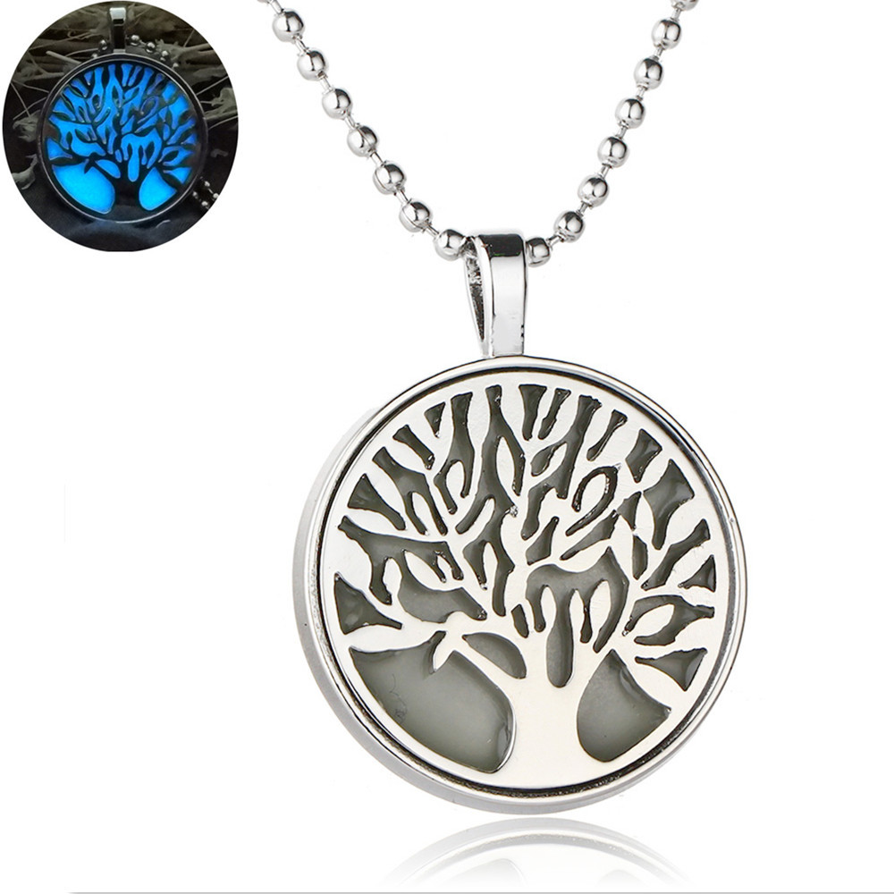 Latest DIY Gold Plating Hollow Glow In The Dark Luminous Life Tree /Tree Of Life Pendant Necklace For Birthday Gifts