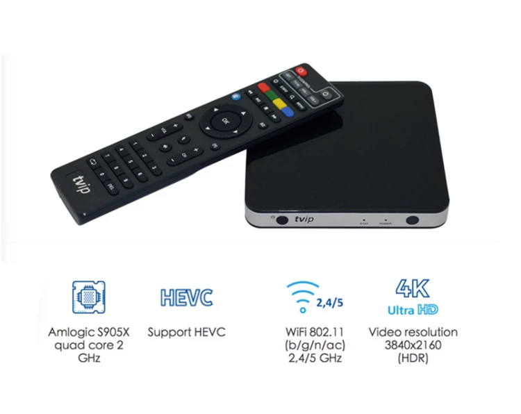 Original Factory TVIP 605 Amlogic S905X Dual OS Android 6.0 Linux TVIP 605 4K IPTV TV Box