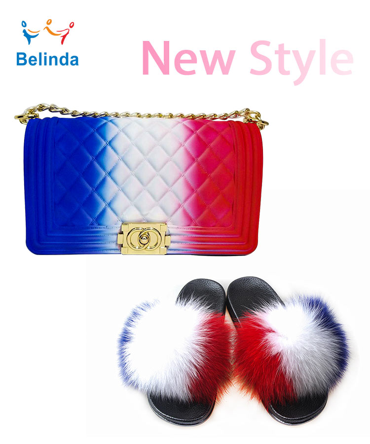 Real Animal Fox Fur Shoes Women Crossbody Messenger PVC Bag Sets Fur Slippers