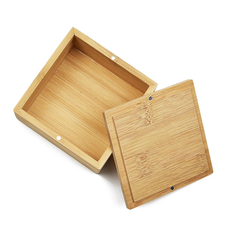 Küçük ahşap manyetik hediye kutusu bambu çay paketleme kutusu