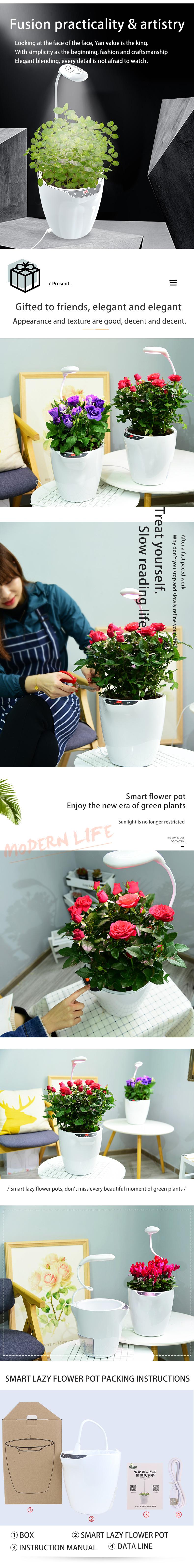 Intelligente Faul Blumentopf mit Full Spectrum Pflanzen Wachstum Lampe