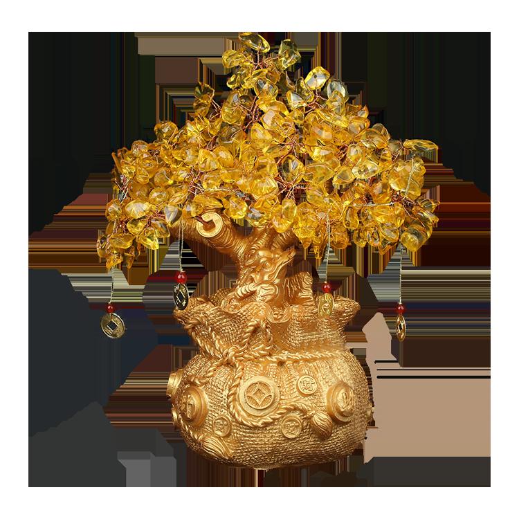 黄金のヒキガエルクォーツフォーチュンクリスタルレイキシトリンの木を魅了する富