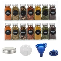 100ml Small Square Airtight Glass Spice Glass Jars for Herb With Clip Top Cap Herbs & Spice Tools Containers