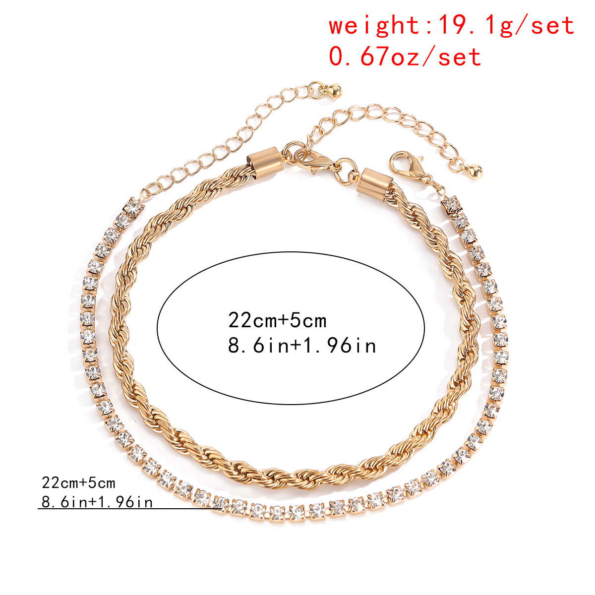 Minimalist punk multi-layered anklets set with diamonds BABY BABE letter pendants anklets set  for women