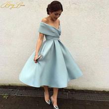 Вечерние платья для выпускного вечера размера плюс с открытыми плечами Sereia, голубое платье с v-образным вырезом, вечерние атласные плиссиро...(Китай)