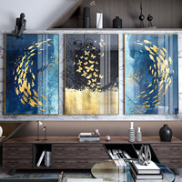 Wall hanging art deco 3 panel modern abstract gold with fish glass painting