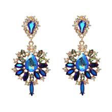 Модные Разноцветные Австрийские кристаллы звездообразная подвеска массивные серьги-капли для женщин ювелирный подарок(Китай)