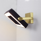 Modern American Style Hotel Project Adjustable Brass Black Square Shape LED Wall Lamp Light
