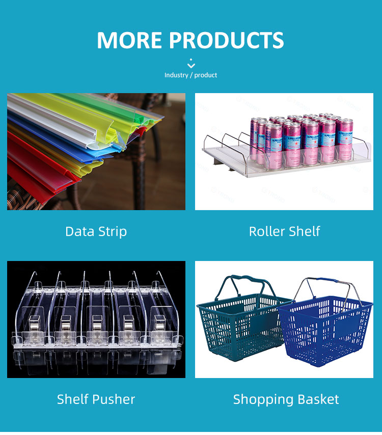 Supermarket Boutique Cosmetic Store Grocery Shop Retail Plastic Commercial Rolling Wheels Shopping Basket Trolleys with Handle