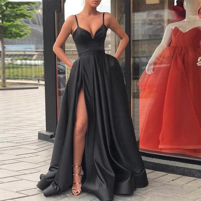 2020 Borgoña vestido hendidura lateral de satén dama de fiesta de noche largo vestidos de las mujeres vestido Formal