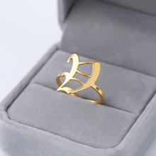 Заглавные A-Z, кольцо с надписью, нержавеющая сталь, на заказ, ювелирное изделие, Панк золото, Anillos Mujer, персонализированное Старое Английское ...(Китай)