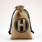 wholesale logo printed jute burlap gift bag with drawstring