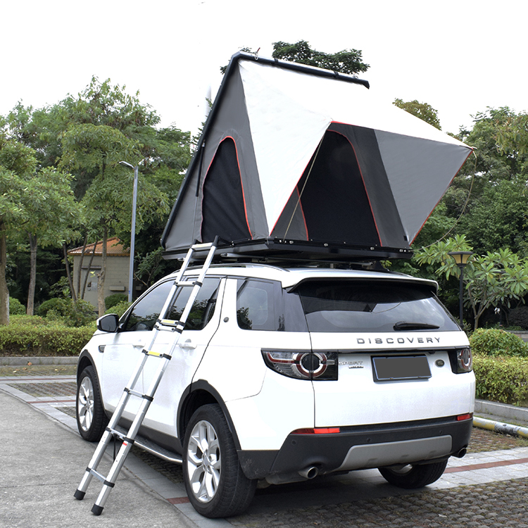 China buy 2 person 4wd truck car triangular automatic camping waterproof clamshell rooftop tent hardshell rooftent for auto