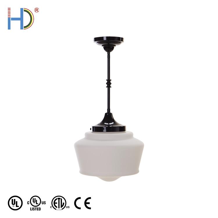 Chinesischen Custom Moderne Dark Bronze Oberfläche Weiß Glas Schatten Anhänger Licht
